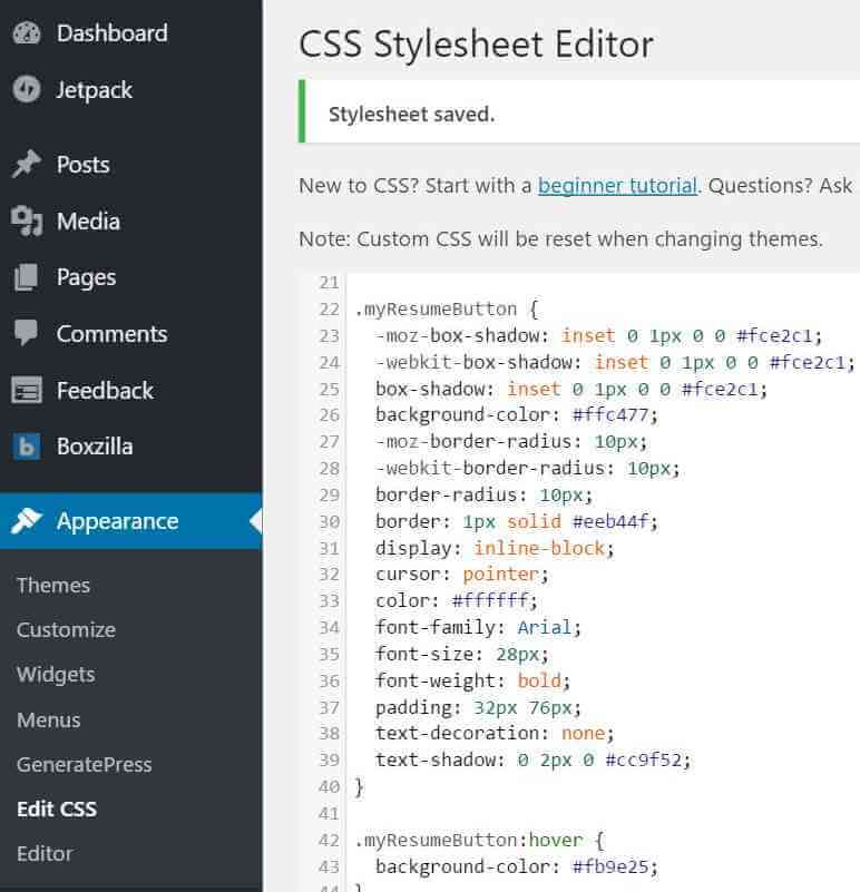 Wordpress Appearance edit Css: Step3 guide on making simple Mautic buttons